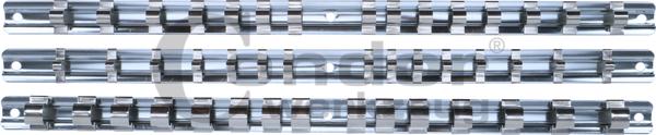Supports de rangement mural   Rail métal pour 15 douilles   Jeu de 3 pcs.   Métal   Carré 1/4 ...